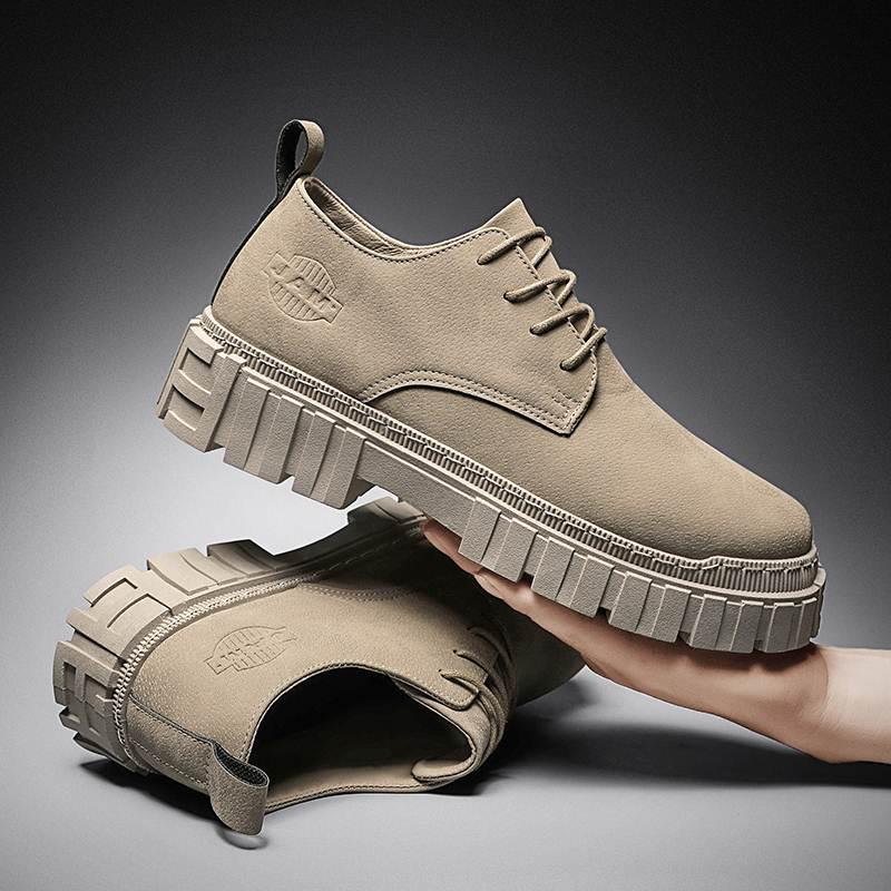秋季马丁靴男复古工装沙漠低帮短靴大黄马靴英伦潮鞋冬季2021新款
