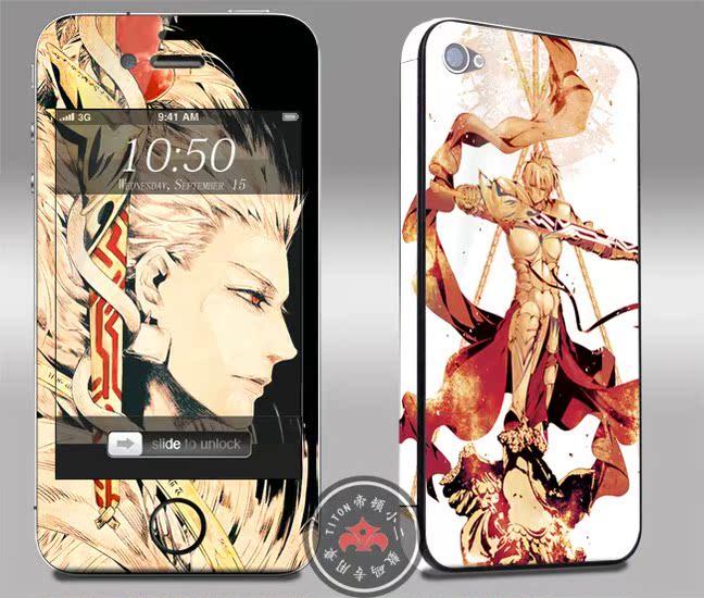 苹果iPhone4/4S/5 5s痛机贴纸金闪闪SABER 贴膜动漫手机卡通彩贴