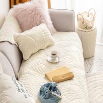 法兰绒沙发垫简约坐垫子秋冬毛绒面套罩巾盖布沙发套罩座垫可机洗