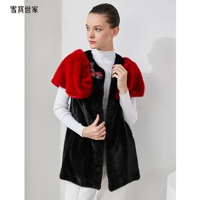 雪宝世家水貂皮马甲女款整貂皮大衣进口女式钉珠皮草马夹外套新款