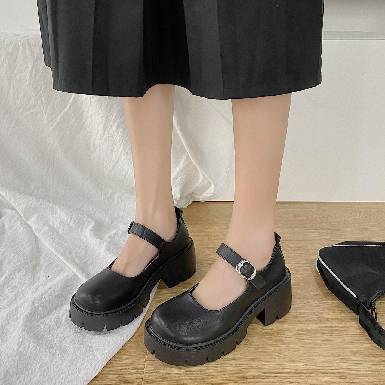 猪腰子鞋大头春夏秋日系丑萌基础玛丽珍鞋复古洛丽塔厚底黑皮鞋女
