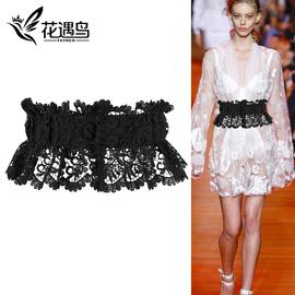 腰封外搭蕾丝松紧装饰连衣裙子宽腰带女士束腰时尚百搭黑白色绑带