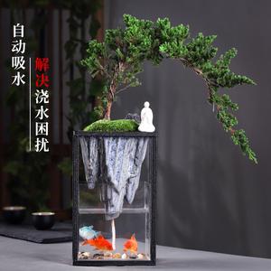 文竹室内鱼缸盆栽山水倒影迎客松