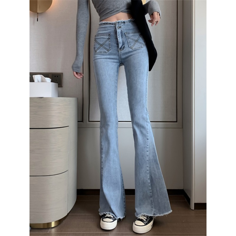Retro High Waisted denim womens early spring 2020 new loose and versatile micro bell bottoms show slim pants trend