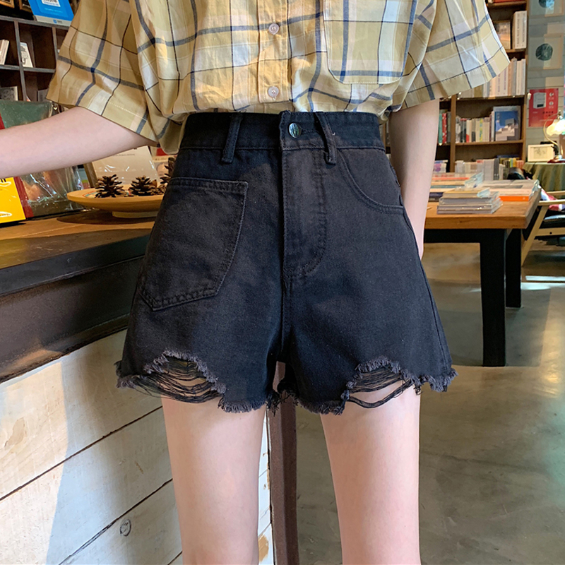 Summer 2020 new womens high waisted perforated Jeans Shorts Black straight pants loose skinny hot pants