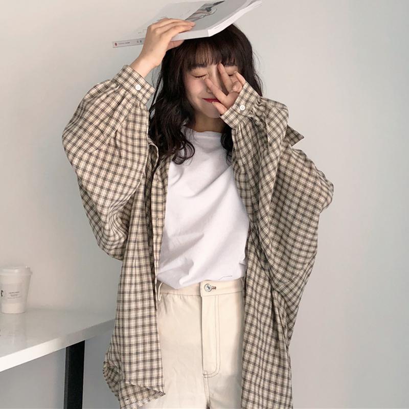 2020春季新款女装韩版宽松百搭格子衬衫复古港味上衣长袖外套衬衣
