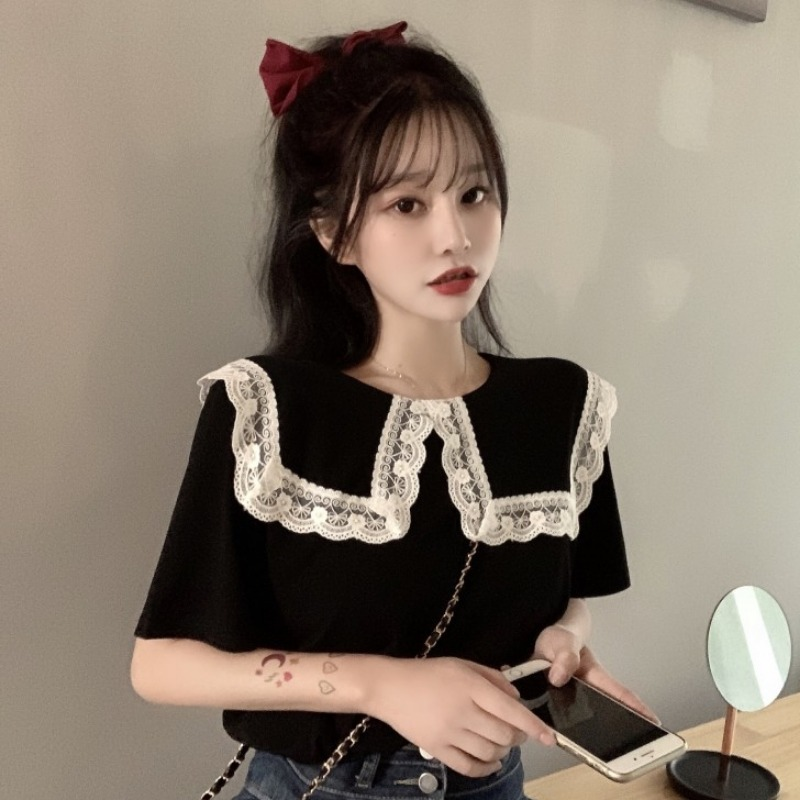 Summer 2020 new Hong Kong style retro Lace Baby collar T-shirt womens Ruffle loose short sleeve top