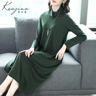 打底裙 缎面连衣裙女2021春秋新款 气质高贵墨绿色裙子高领长袖 长款