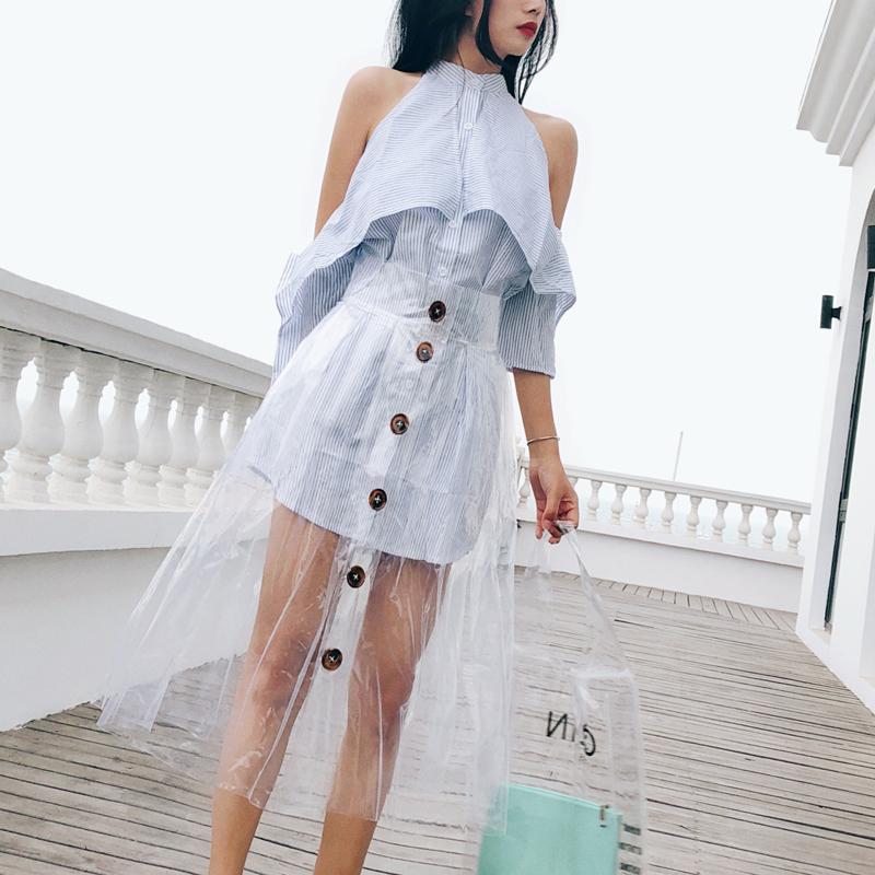 高腰排扣雨裙塑料透明pvc半身裙2018新款雨衣裙子百褶裙a字长裙夏