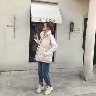 秋冬季新款韩版宽松坎肩短款棉马甲女士羽绒棉服马夹背心外套2018
