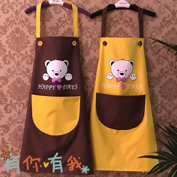 Apron Korean fashion womens pure cotton kitchen home cooking adult European smock restaurant waterproof apron home