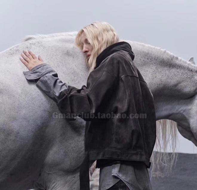 高街自主Fear of god Fog 6th第六季翻毛牛皮廓形宽松版短款夹克