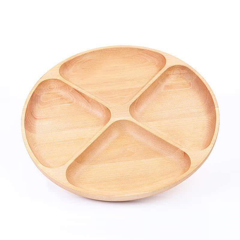 实木分格有盖盘子水果盘创意木质家用茶盘酒店木制干果餐果点心盘