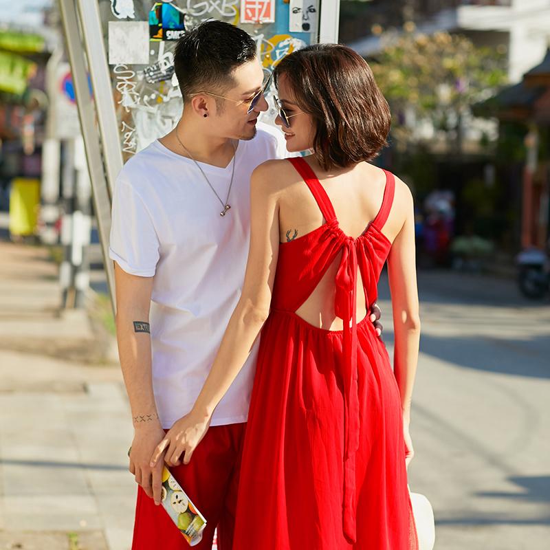 限5000张券蜜月沙滩情侣装夏装2019新款红色情侣款连衣裙海边度假气质套装