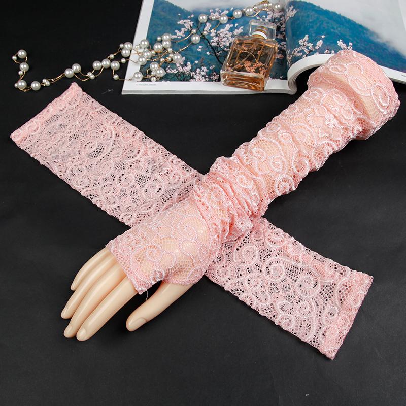 泫雅风粉红色袖套防晒手袖护臂手套蕾丝冰丝女 ins潮花臂长款可爱29.90元包邮