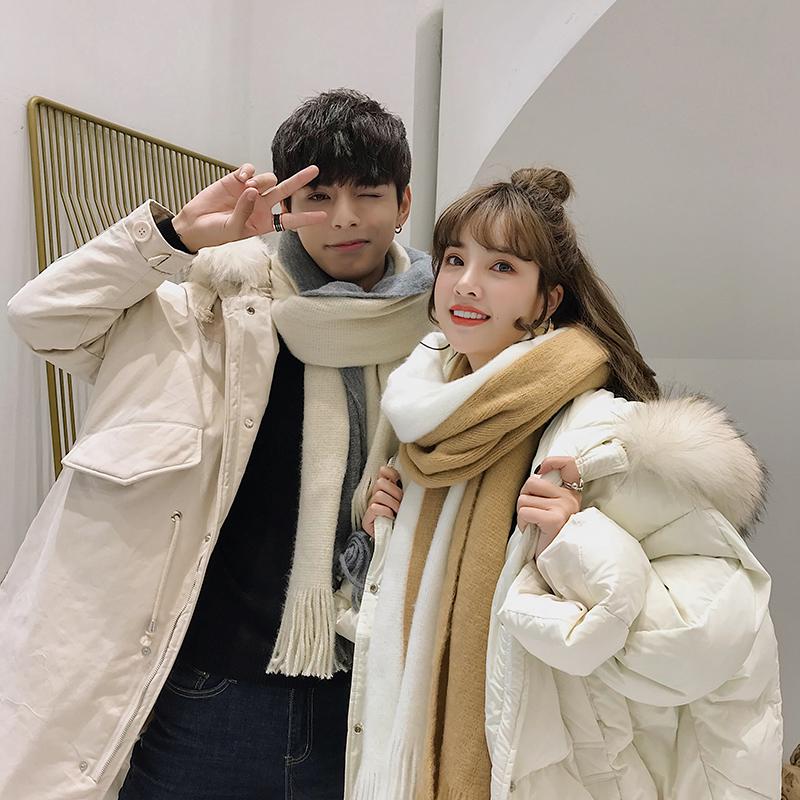 情侣围巾冬季男女情侣款学生一对韩版百搭简约秋冬可爱少女围脖潮