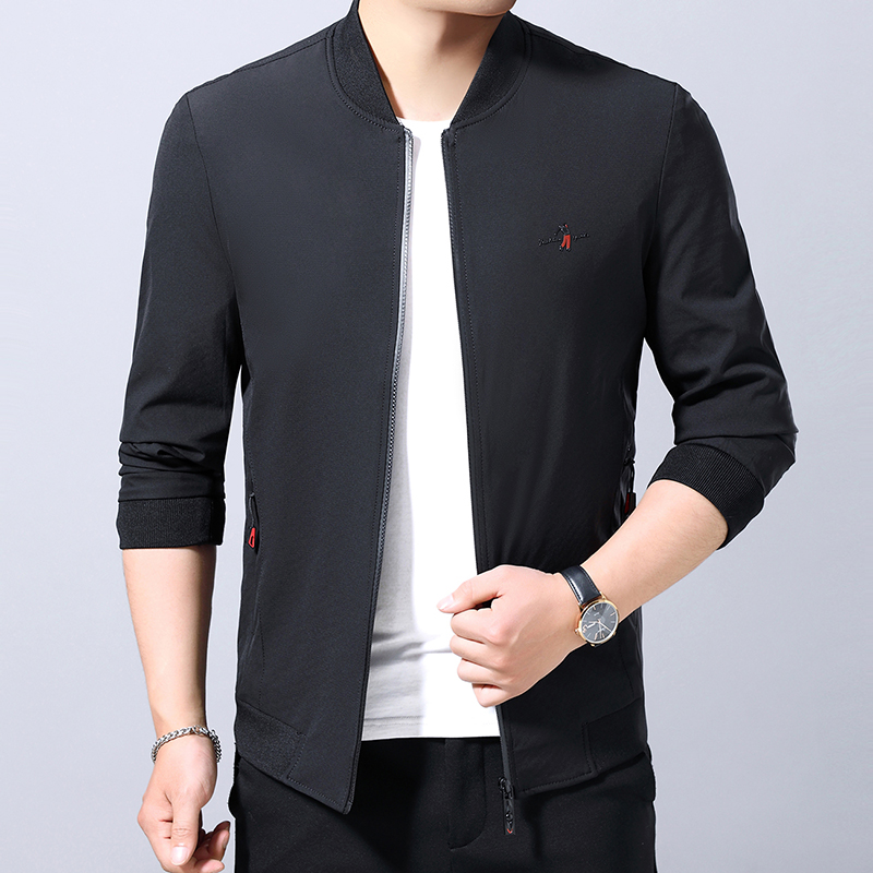 Coat mens middle-aged mens coat spring and autumn new round neck slim fit dads clothes thin casual jacket