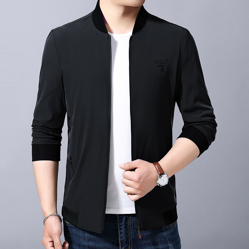 Spring and autumn new middle aged mens coat thin mens spring jacket business casual standing collar top