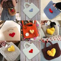 爱心毛线包包材料包女手工编织水桶包diy材料包可爱简约手提小包