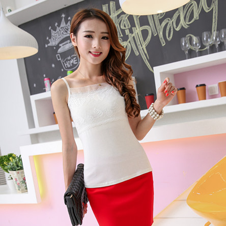 Summer professional solid color bottoming womens modal suspender vest with lace pattern, thin shoulder, sleeveless and versatile