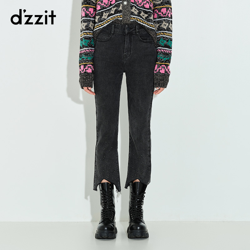 Dzzit Desu autumn 2020 new black hot drill micro pull tuxedo jeans female 3c3r5031a
