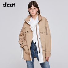 Dzzit Disu 2020 spring counter new loose casual splicing tooling short coat for women 3g4f4801l