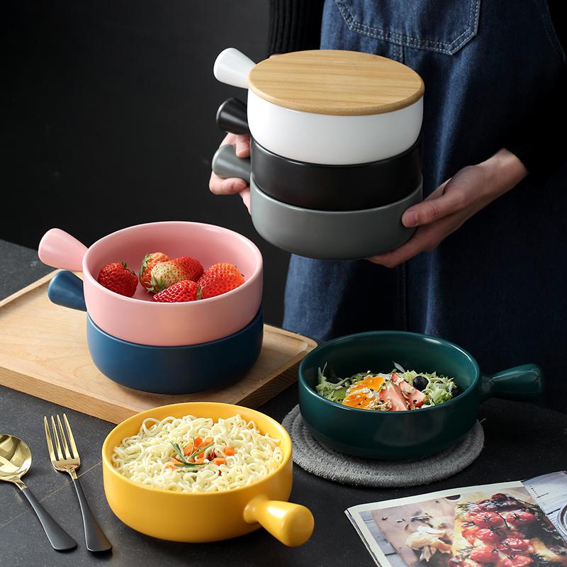 焗饭碗北欧风陶瓷带柄烘焙烤碗意大利面烤箱盘子简约家用餐具烤盘