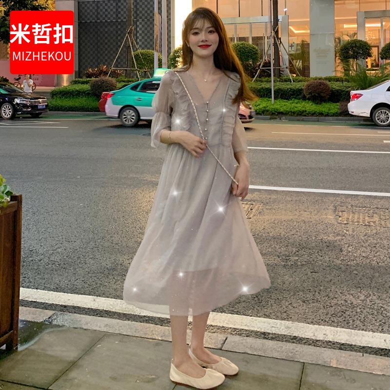 2019年流行女夏泫雅风长裙超仙女森系ins潮显高显瘦气质连衣裙子12-06新券