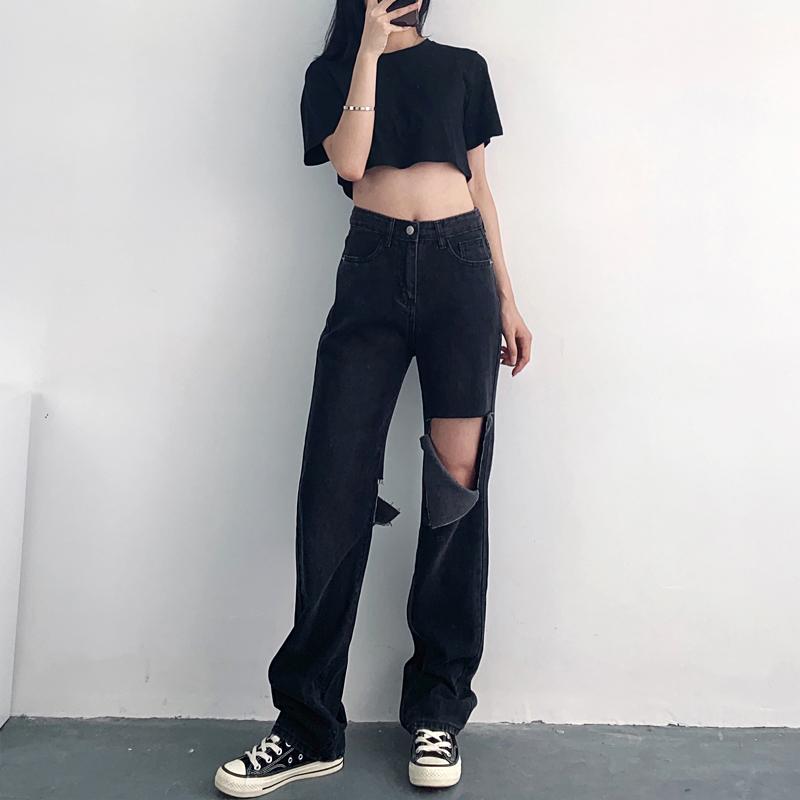 2021年夏季新款灰黑色高腰显瘦显高破洞宽松直筒牛仔裤女拖地裤子