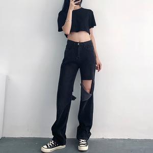 2021年夏季新款灰黑色高腰牛仔裤