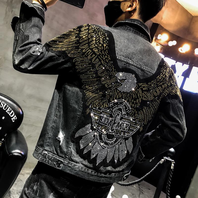 秋季新品后背老鹰刺绣男士社会小伙镶钻牛仔衣修身发型师潮流外套