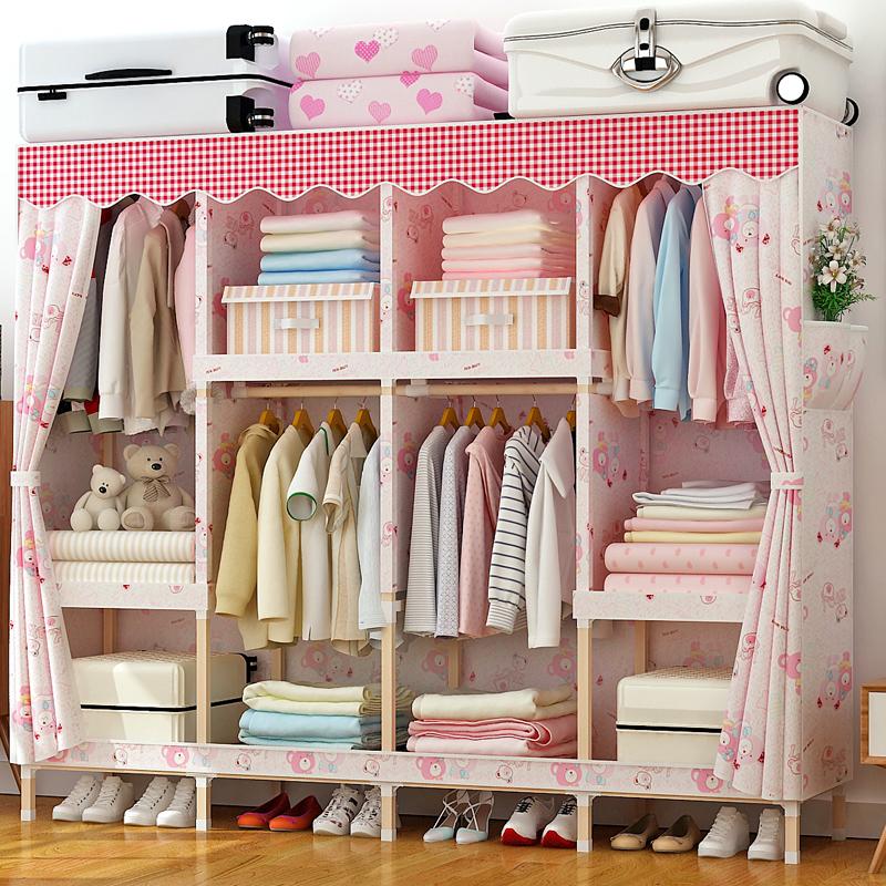 Хранение легко ткань гардероб ткань дерево двойной ткань простой современный гардероб шкаф экономического типа сборка не- стальная полка