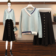 Large women's 2019 new spring, autumn and winter slightly fat younger sister's age reducing two-piece suit dress fashion
