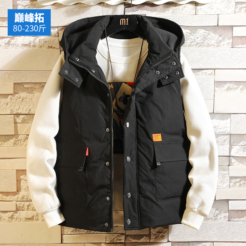 Autumn and winter men's waistcoat, cotton-padded jacket, waistcoat, overalls, overalls, trendy loose large size warm waistcoat jacket men