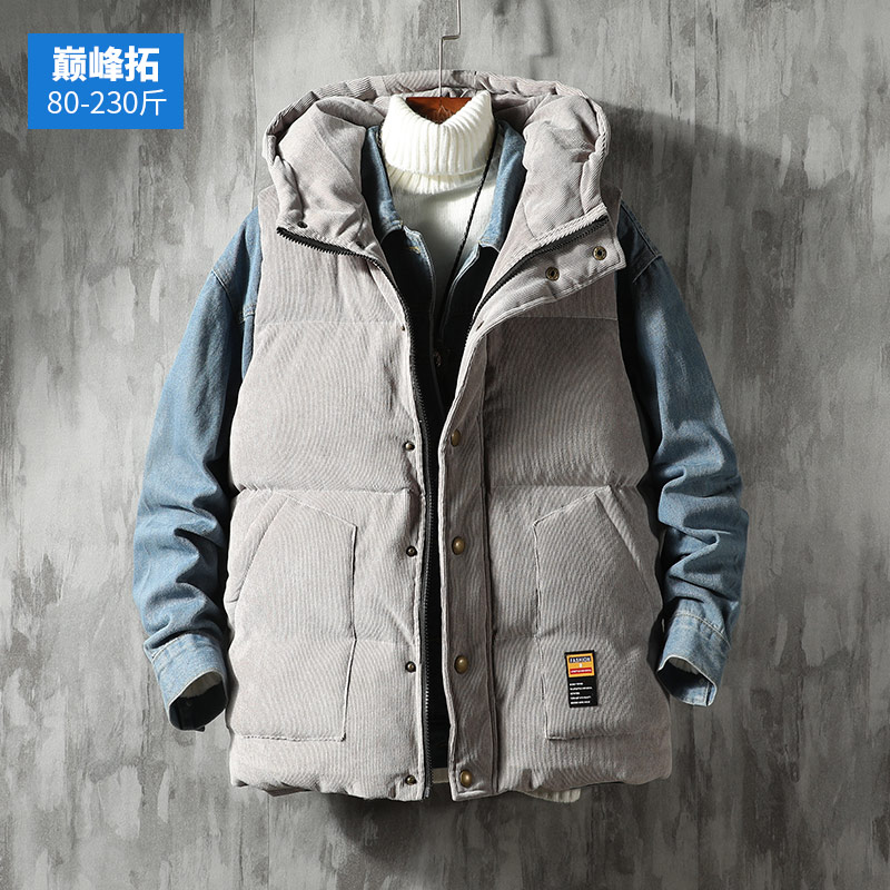 Autumn and winter vest men's cotton padded jacket thickened corduroy vest trend loose large warm jacket