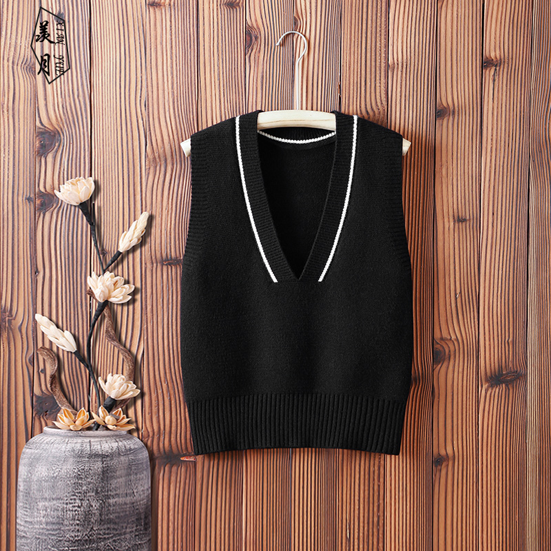 2020 autumn and winter V-neck sleeveless wool waistcoat knitted vest women's sweater vest all-match outer wear vest jacket