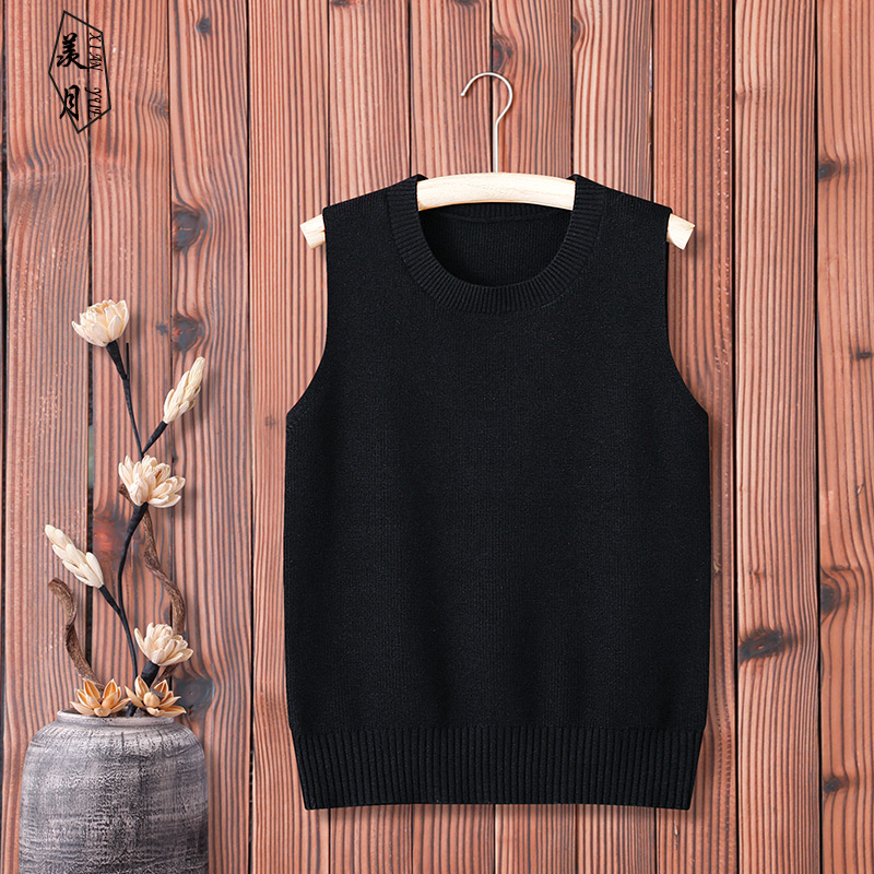2020 new spring and autumn knitted vest women's Pullover sleeveless sweater vest with all kinds of wool waistband