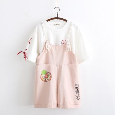 日系森女夏装初中高中学生休闲短裤可爱显瘦小个子阔腿背带裤女