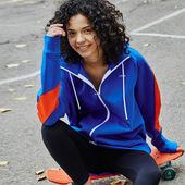 gymna专业运动健身户外跑步拉链衫春秋连帽宽松大版长袖拼接外套