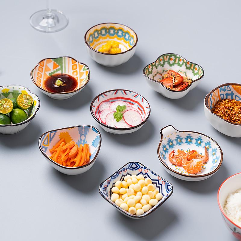 Ceramic small bowl and dish dipping dish seasoning bowl and dish small flavor dish household creative sauce dish snack sauce dipping dish tableware