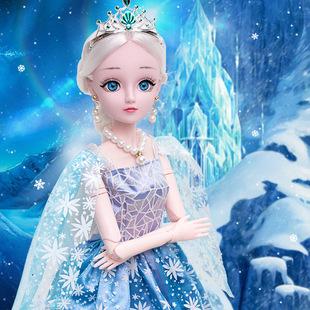 美人魚兒童婚紗衣服超多愛莎説話可對話古風3d乖乖芭比娃娃。公主