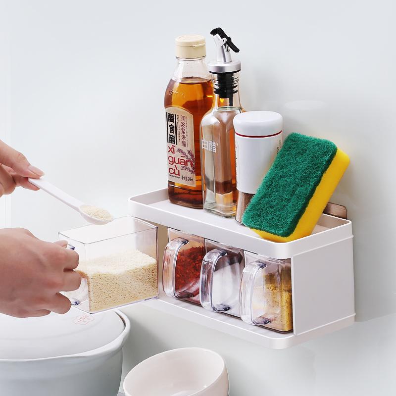 限10000张券厨房用品调料盒套装家用组合装调味品收纳盒塑料佐料盒家用调料罐
