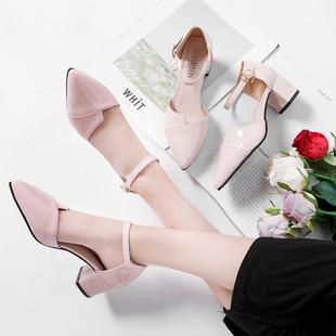 凉鞋女夏季新款尖头包头一字式扣带2019新款韩版百搭粗跟高跟鞋潮