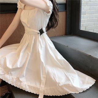 2020夏季设计感不规则港味ins收腰显瘦中长款短袖连衣裙女装