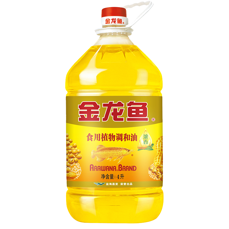 Jinlongyu edible vegetable blend oil 4L edible oil barrel for household cooking vegetable oil