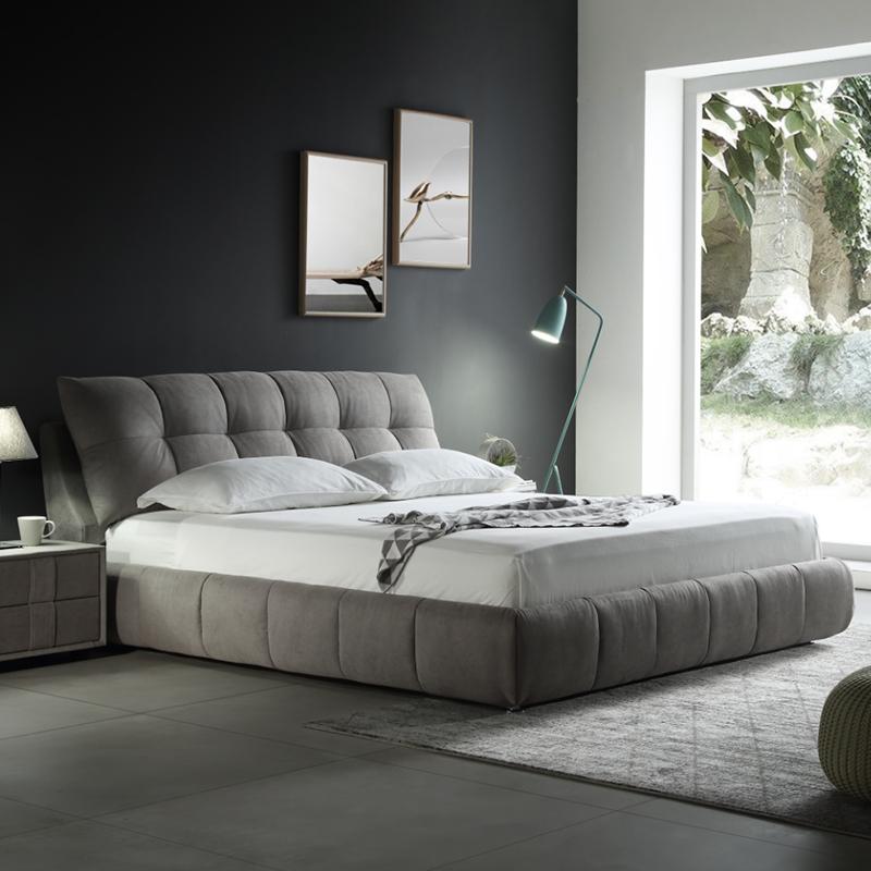 Нордический ткань кровать простой современный двуспальная кровать небольшой квартира ткань кровать съемный татами брак кровать господь ложь 1.8m
