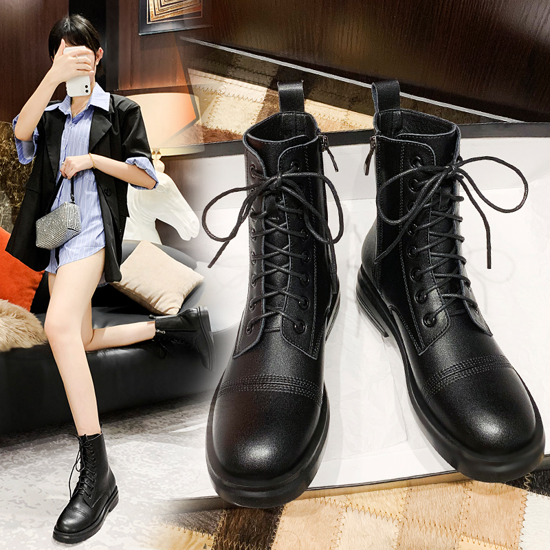 Leather Martin boots womens British style short boots ins fashionable and handsome 2020 new spring and autumn single boots lace up thick soled womens Boots