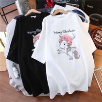 新疆纯棉印花短袖2021年新款女t恤夏装百搭学生韩版宽松ins潮上衣