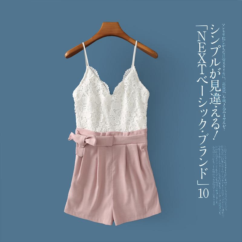 吊带连体裤 夏季新款外贸女装吊带露背撞色拼接上衣连体短裤17495