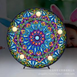 新款DIY异形钻石画带小夜灯 卧室曼陀罗花纹装饰画创意带圆框摆件